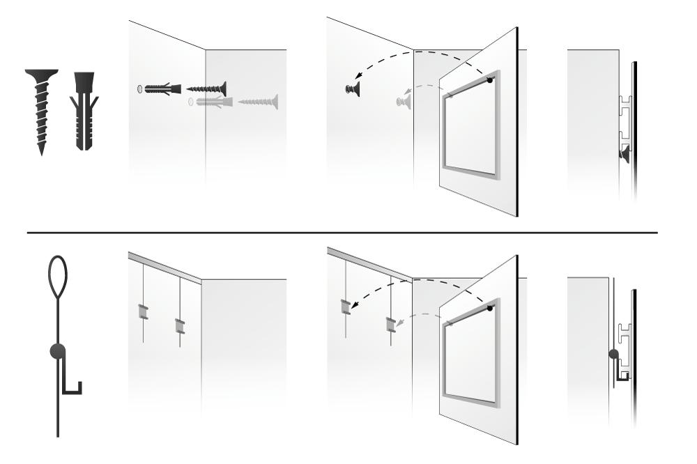 Tipos de soportes colgadores - Sistemas para colgar cuadros ...